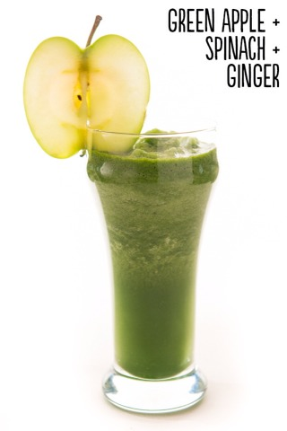 How to: Place 1 green apple (with skin, cored, and cut into chunks), ½ cup frozen spinach, ½-inch piece peeled, fresh ginger (cut into small pieces), and ½ cup water into a blender. Blend until smooth. Serves 1.  Extras: Blend in ½ of an avocado or fresh lime juice.