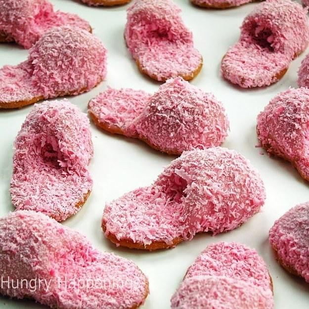 27. One more midnight snack idea — fuzzy slipper cookies which are fun and easy to make.