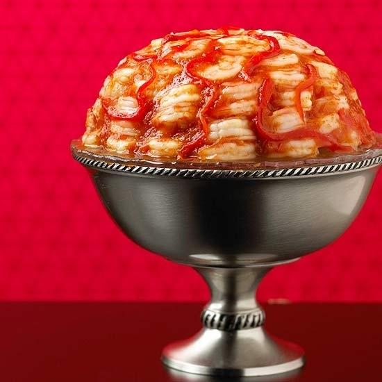 Shrimp Brain Cocktail  Because really, nothing is creepier than savory food in a Jell-O mold.  http://www.bhg.com/recipe/appetizers-snacks/scary-cerebrum/