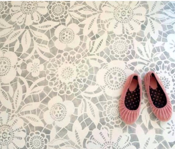 Floor Stencils Instead of rugs, change old, plain floors into beautiful painted stencil designs.