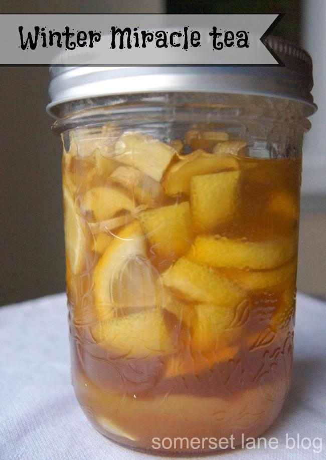 To make the tea....  Boil water.  While water is boiling, mix the lemon, ginger and honey in the jar.  Scoop out 1 tablespoon of liquid mixture and place into a mug and then pour the boiling water over top.  I always add a couple of slices of lemon from the jar into my tea (I love lemon tea).  And d