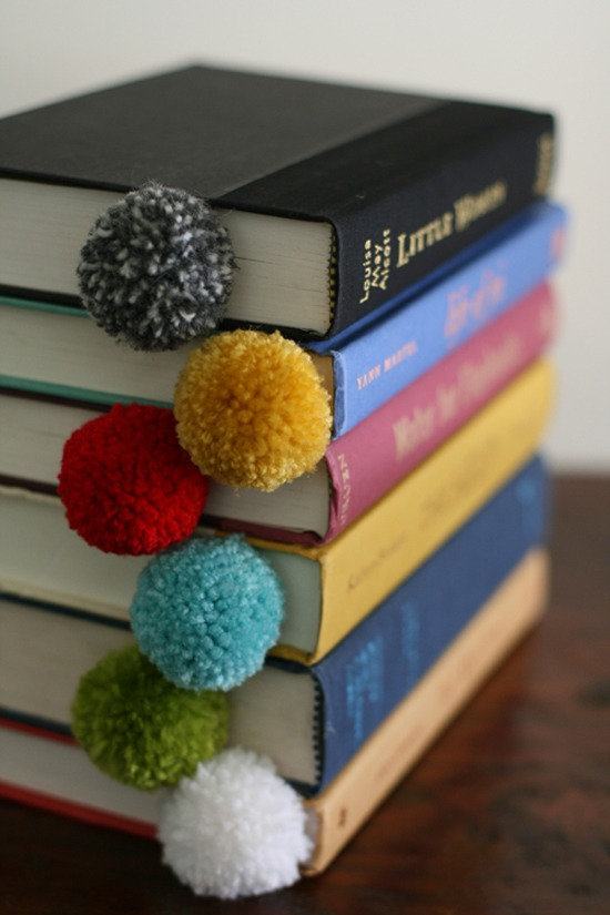Yarn Ball Bookmarks  These super easy-to-make yarn pom-pom bookmarks are the perfect gift for any book lover.