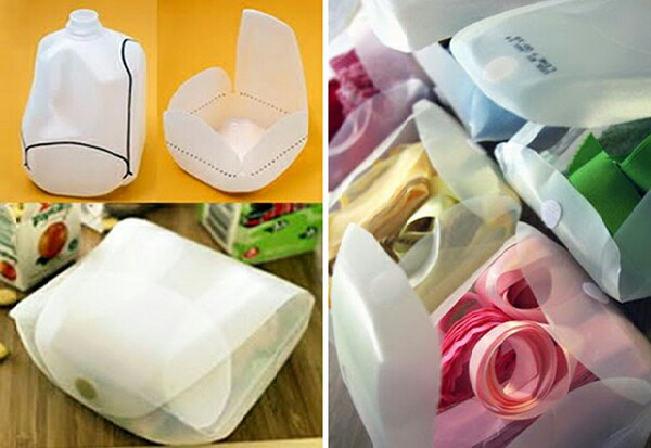 Transform milk jug containers into handy storage boxes by cutting them as shown and then adding velcro patches to close them.