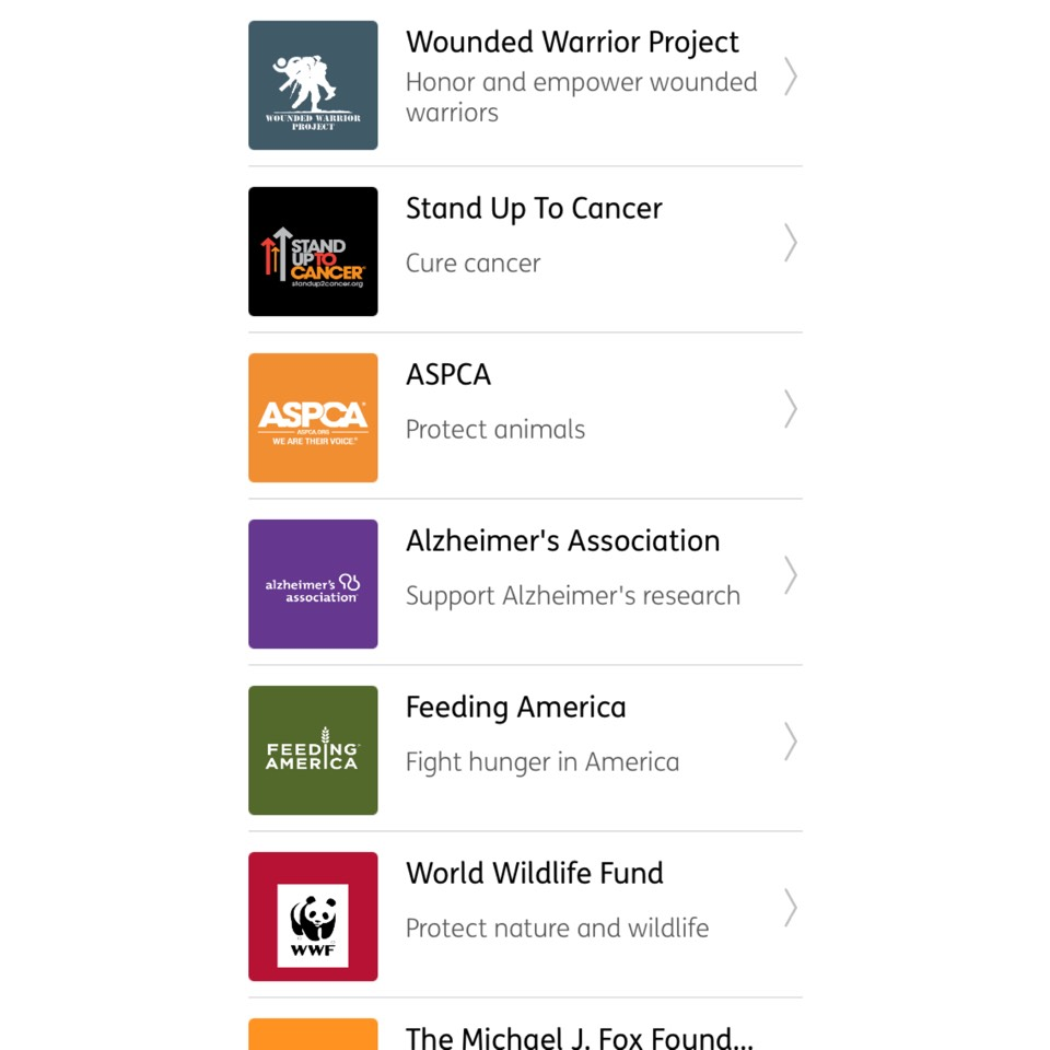 You have a huge selection of charities to donate for!