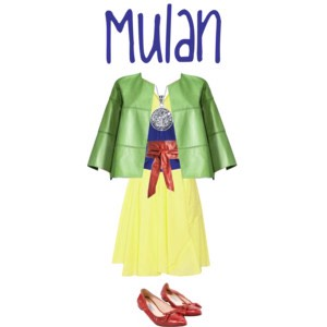 I also love Mulan! The songs and the story and even just the principles of the princess herself never failed to inspire me and that didn't stop today! I had so much fun pulling in all of these bright, metallic colors from her outfit and making it a very modern piece.