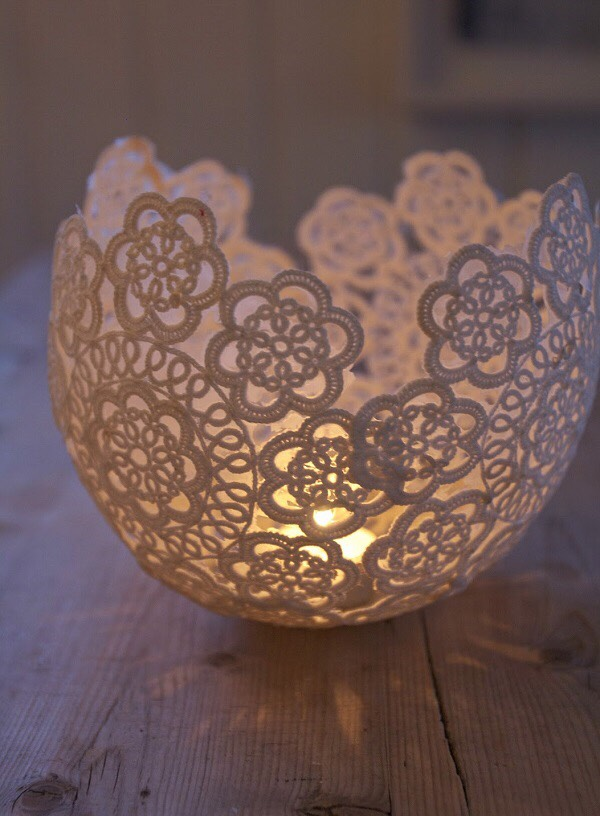 5. Crochet: Using mod podge, paint it onto a rounded surface (such as a balloon or bowl) and put the crochet onto the mod podge. Paint the mod podge overtop of the crochet and let dry, once it's dry, remove the crochet and you'll have a cute little bowl to place your candle in!