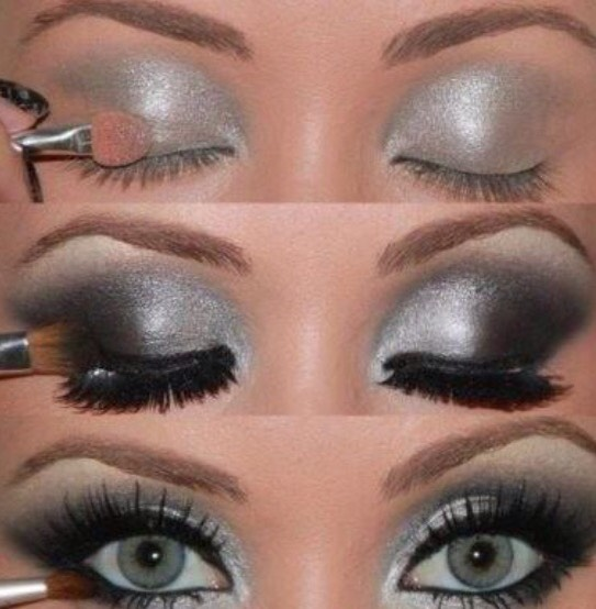 Try using a shimmery silver to look bold and beautiful.
