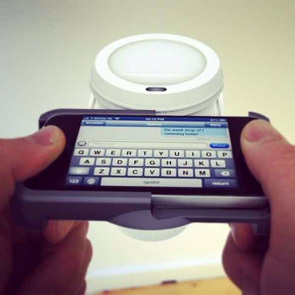 5. An iPhone case that holds your cup so you can multi-task. You probably shouldn't be texting or emailing before you've had your first cup. Details here : http://www.natwerk.nl