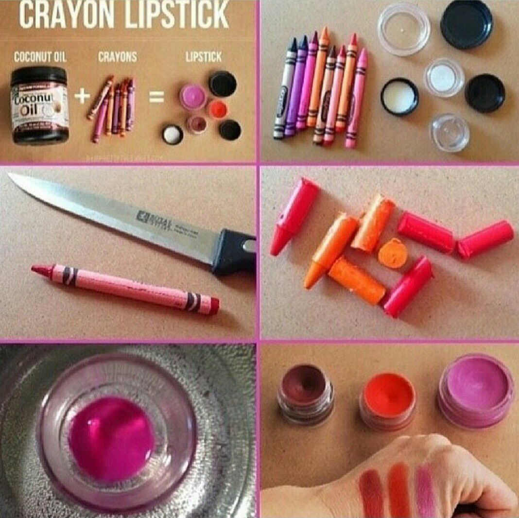 Materials: crayons,pot,cocnut oil, container. step 1. remove lable from crayon step 2. put the container on a pot with boiling water step 3. put one table spoon of cocnut oil step 4. break crayon in half and put with coconut oil step 5 once its melted put it in a container and put it in the freezer for 5 min