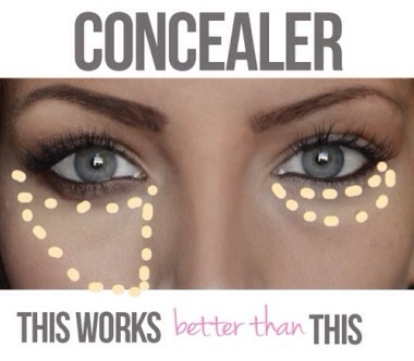 Forget about dotting your concealer. Instead, apply it in a triangle shape, with the base at your lash line and the tip at the bottom of your cheek. This will hide redness beneath the eyes, and brighten up your whole face.🌺