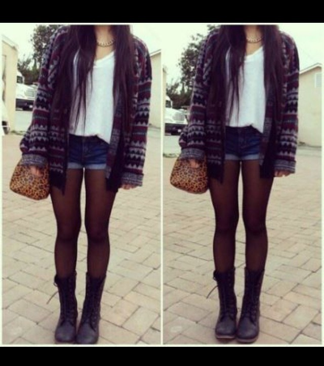 Personally this is one of my favourite outfits as I love the boyish boots but the more girly knit wear and shorts. This look is stylish and practical and great for going out or just staying home.