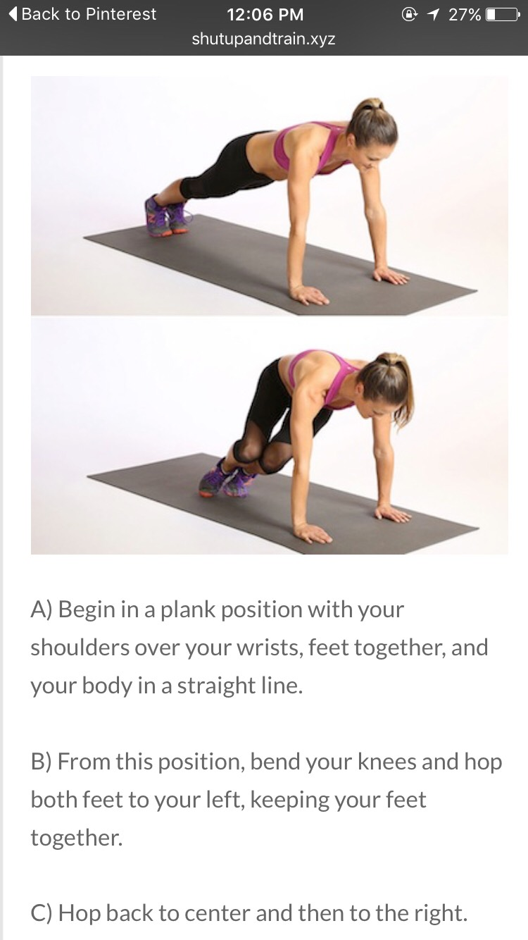 2. Core Body Hops  Perform for 20 seconds, then immediately hold plank for 10 seconds. Repeat for 8 cycles