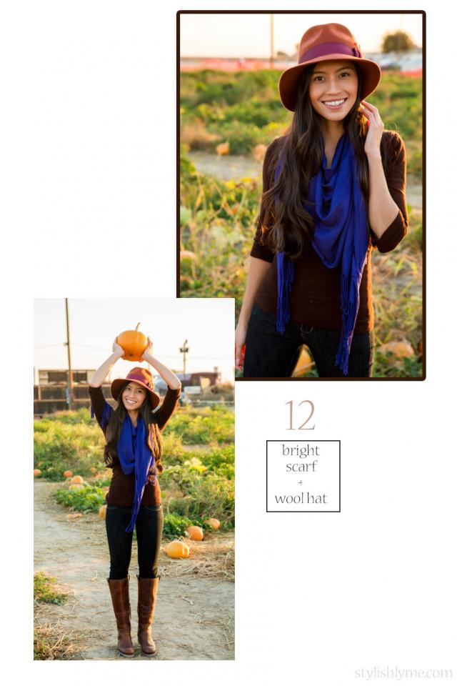 A cute outfit for the pumpkin patch  I mentioned that the holidays was one of my favorite things about fall and I love going to the pumpkin patch! Wear a cute and stylish outfit to find your favorite pumpkin for Halloween and wear brown boots with jeans.