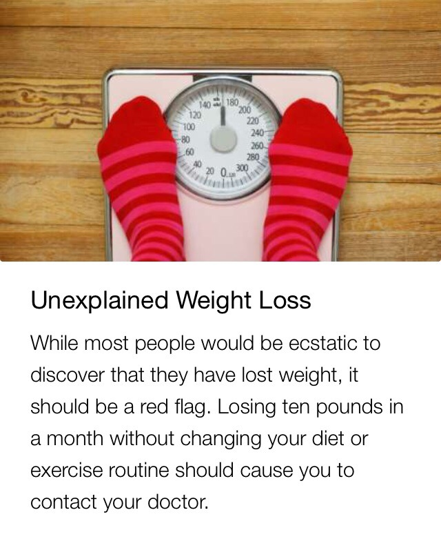 Unexplained weight loss could also be related to your thyroid, but either way a doctor should run tests.