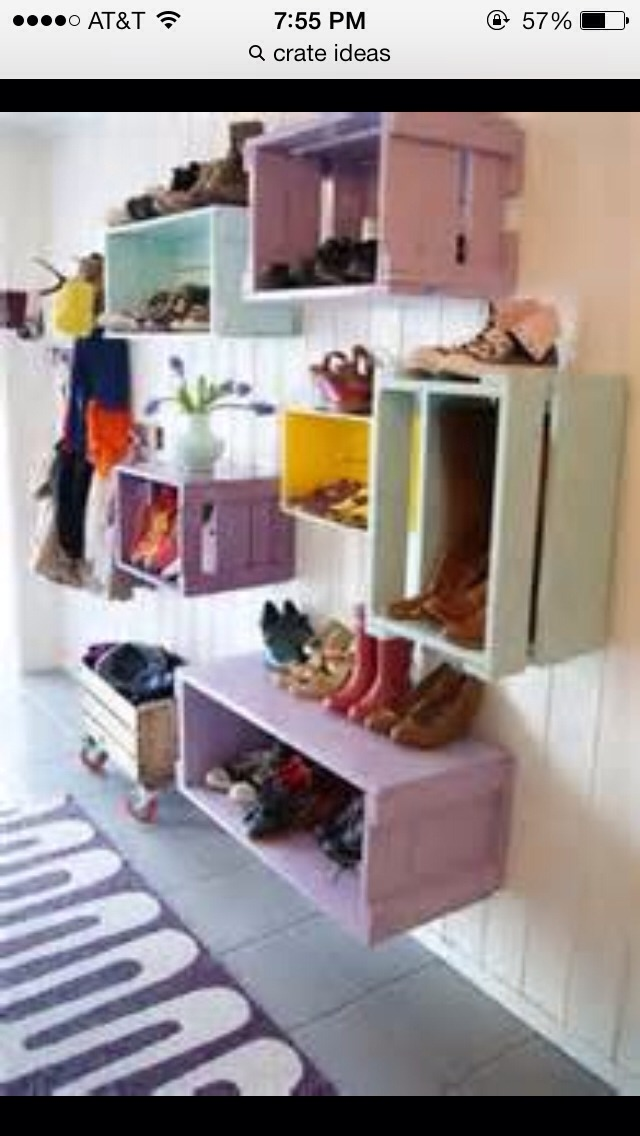 Hang crates on the wall and place shoes or other thing into it to lessen clutter!