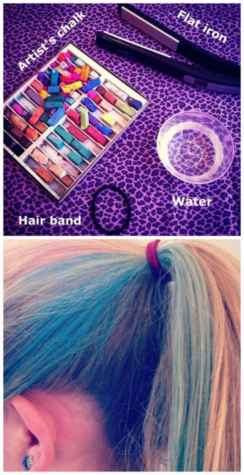 14. Chalk the kids' hair so they reach maximum awesomeness.