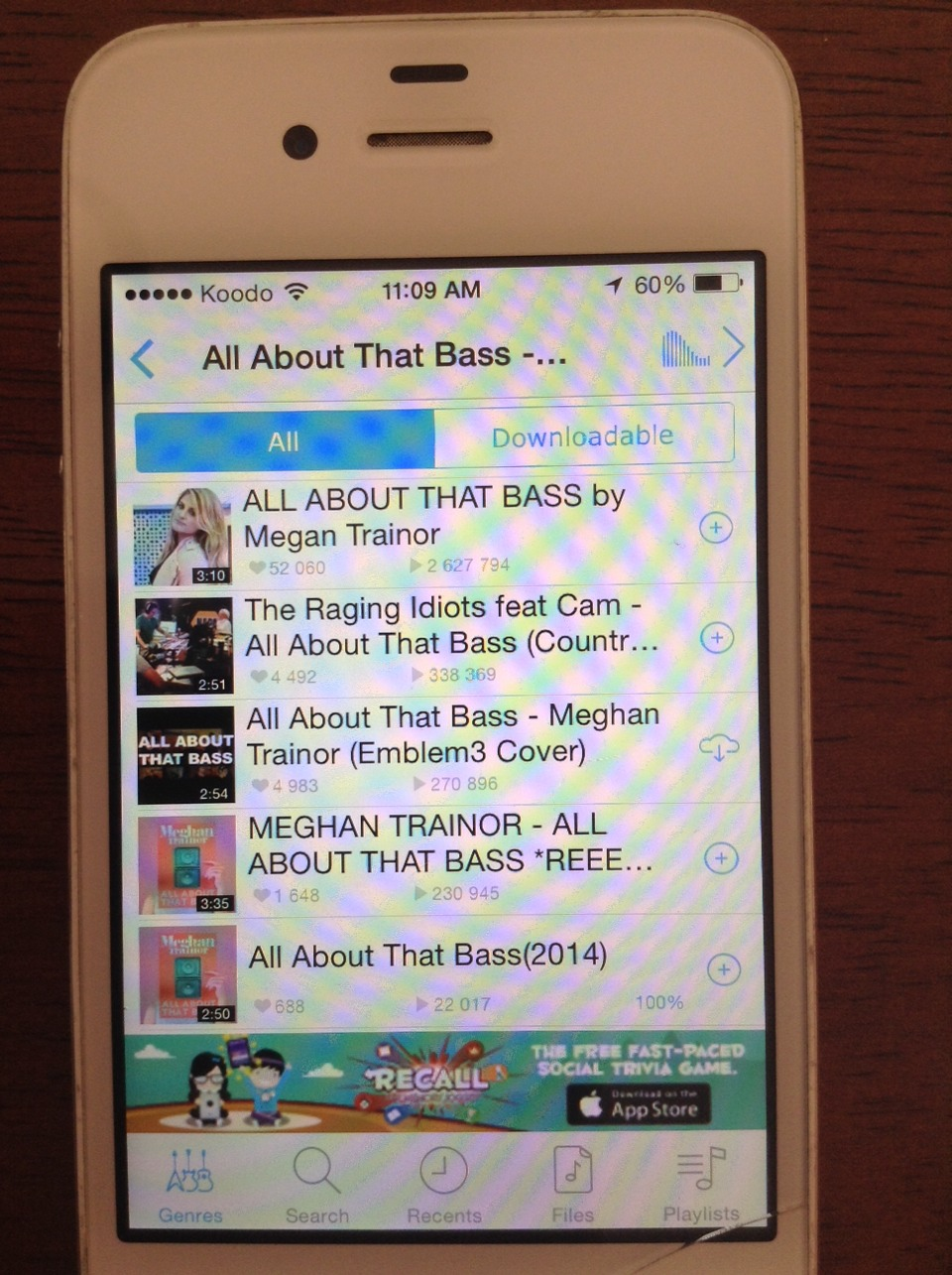 I clicked on my favorite song; all about that bass. Now in the picture, press the tab Downloadable if you want to be able to listen to the song without internet.