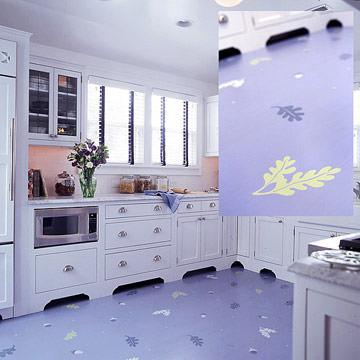 Paint and then stencil your kitchen floor to add color and pattern!