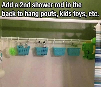 Tap for full view😊. Hang a second shower rod for toys and such!
