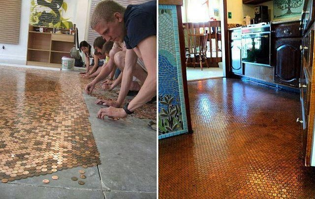 It sounds crazy but it's actually a very nice project. Here's what you have to do. Remove the base molding in the room and then sand down the floor. After that, clean the floor. Cut squares of self-sticking fiberglass and stick the pennies to each one.   ->
