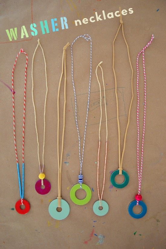 2 | DIY Washer Necklaces  The kids will have a blast with this one! Nail polish transforms a simple washer into a one of a kind DIY necklace!