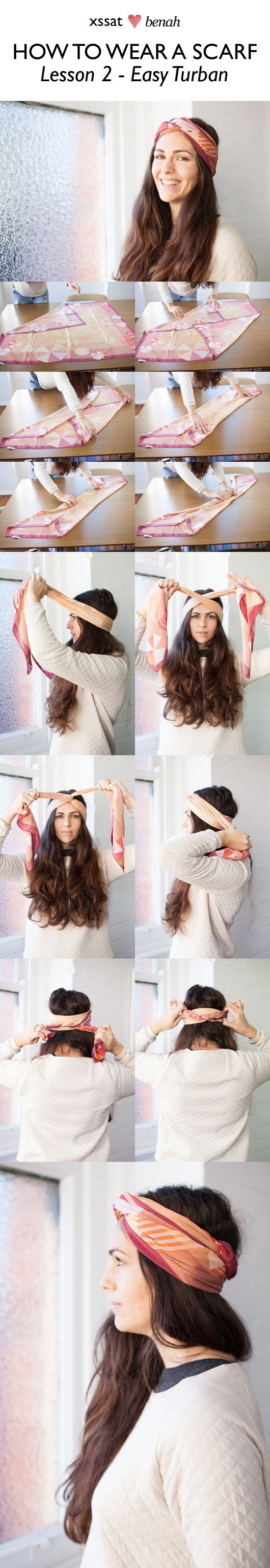 Learn how to tie your scarf into a cute turban style . PERFECT FOR THE BEACH!