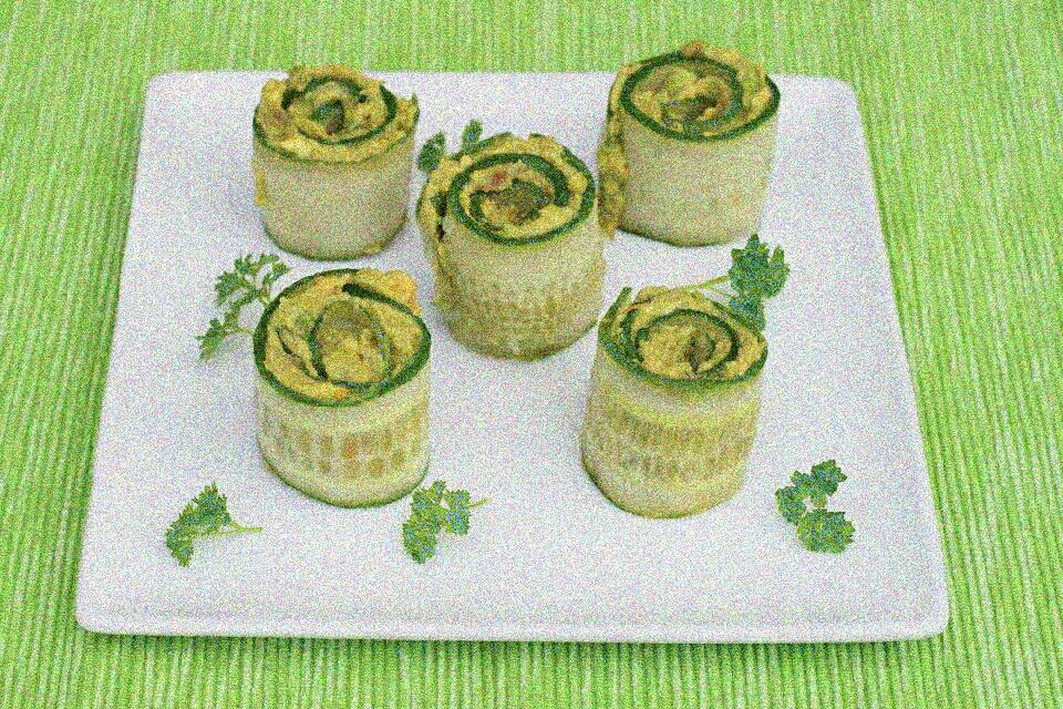 Ingredients:  1 Avocado ¼ Cup of Basil Leaves (a small bunch) 1 Clove Garlic 2 teaspoons Lime Juice ¼ teaspoon Salt Pepper to taste 1 Cucumber