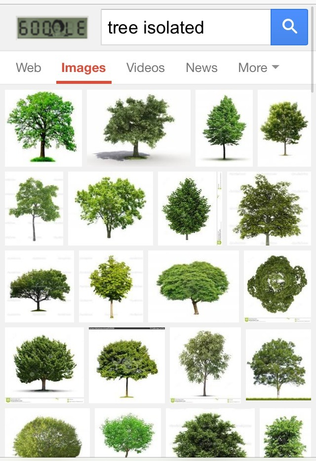 "Go to Google and type in the item you want to find...and add the word ""isolated"" after it. Then click on ""images.""   For example, this one is ""tree"" plus ""isolated."" You'll find several to choose from!"