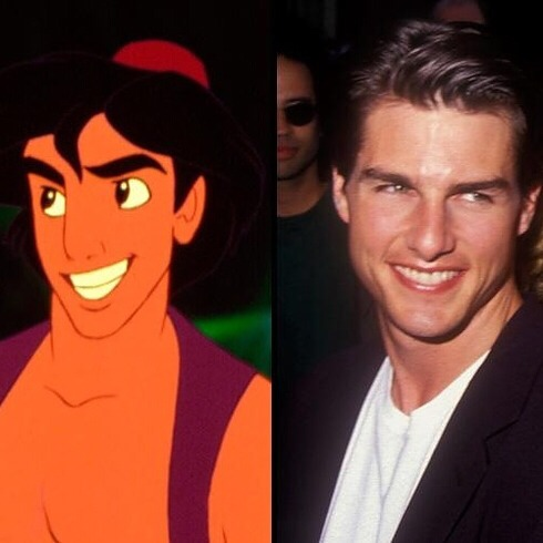 Aladdin's face was modeled after Tom Cruise's.