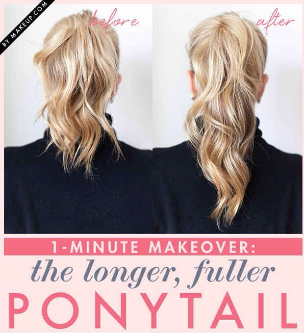 Fake a fuller ponytail by doing the double-ponytail trick. Pls tap for full view.