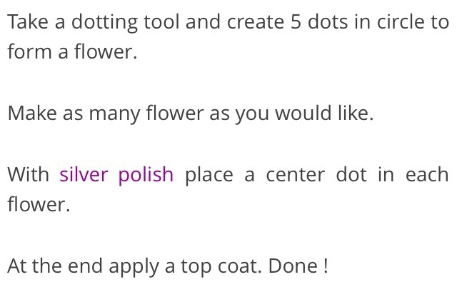 Double click for full view - Please don't forget to like 👍   For more dazzle try adding a flat back rhinestone instead of silver nail polish for the center of your flower.