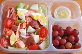salad (1/2 hard boiled egg, red potato, onion, tomato), dijion vingarette, grapes