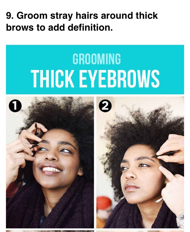 --> Tweeze above and below your natural brow by plucking out hairs. If you need to, use an eyebrow razor from the side of your hairline to just above the top of your eyebrow to remove any thin, excess hair on your temples.