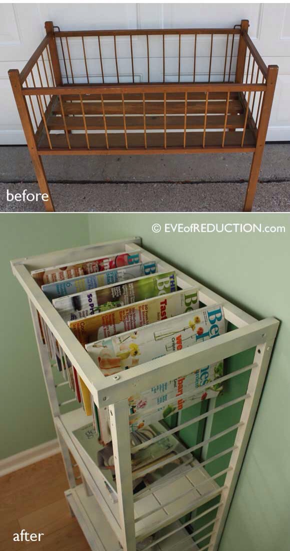 Old crib into a magazine rack