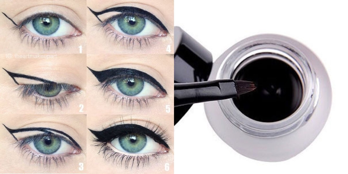 Step 4: After that you'll need to apply your black eyeliner, now I use gel eyeliner- but again, anything works. I just depends on what works for you. You'll want to make your eyeliner just a little bit thicker on top.  TIP: If you choose to use eyeliner on the bottom, don't use gel eyeliner.