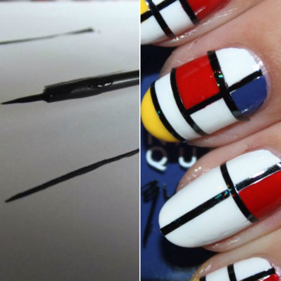 carefully cleaned and rinsed your old liquid eyeliner brush and transformed it into a striper that is sure to mimic precise lines.