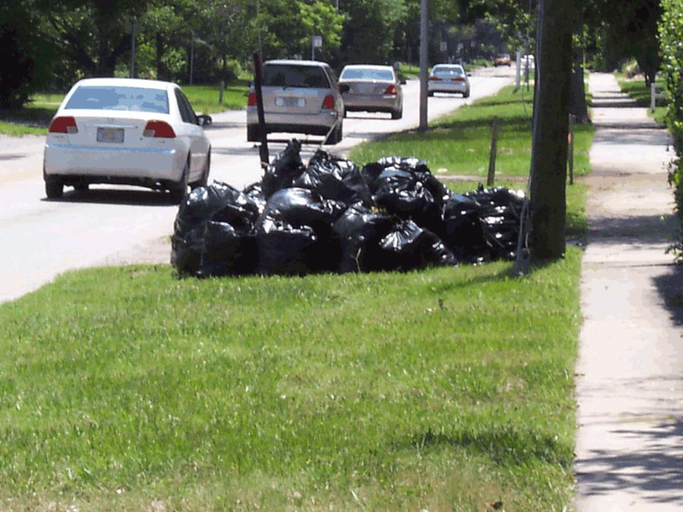 A lot of trash bags