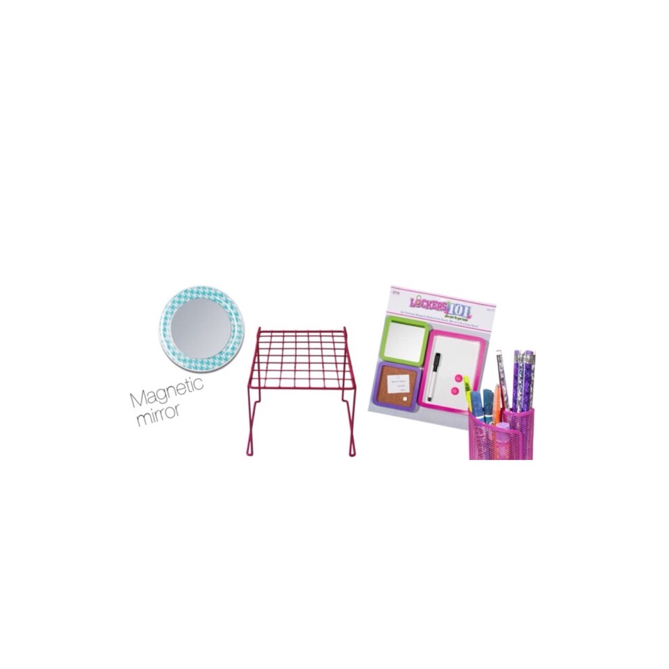 Some essentials you will need to decorate your locker are: magnetic mirror  •a book storage spacer. •white boards ( magnetic) •and a pen/pencil holder.