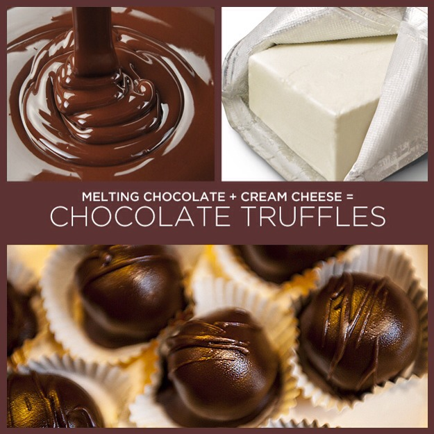 ingredients: 1   8oz pack of Cream cheese Chocolate (1 pkg of almond bark or 2 1/2 boxes of melting chocolate)