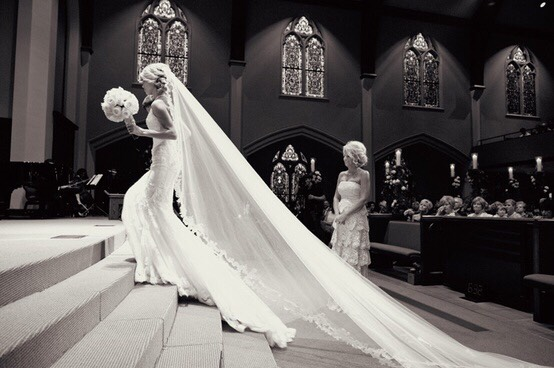 To me there's nothing more elegant and feminine thanthe cathedral length wedding veil. While it mightnotbeappropriate for every wedding venue, they are still fun to look at because they are beautiful.