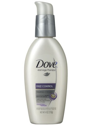 While you're hair is still damp, apply the dove frizz lotion.