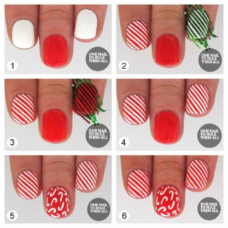 Christmas Candy Cane Nail Design