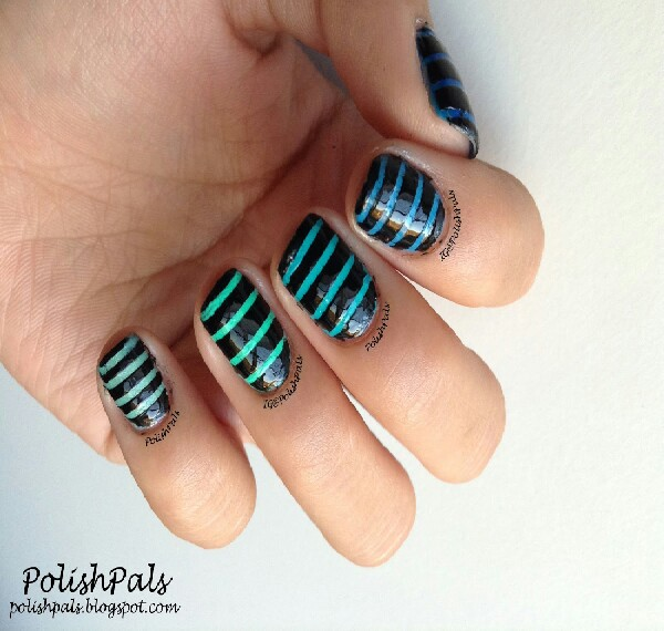 when you want to do stripes on your nails small pieces of tape can make perfect stripes:)
