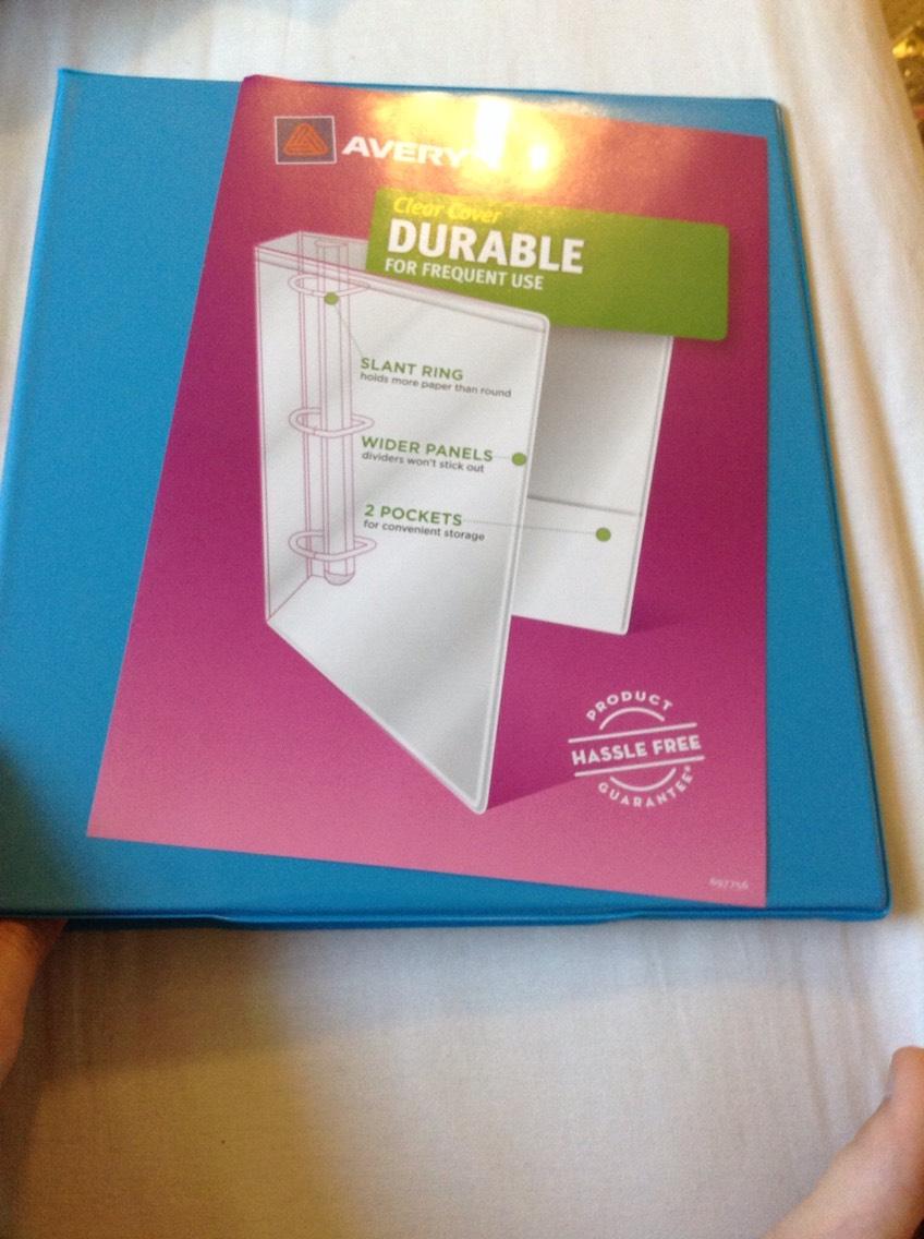A one inch binder