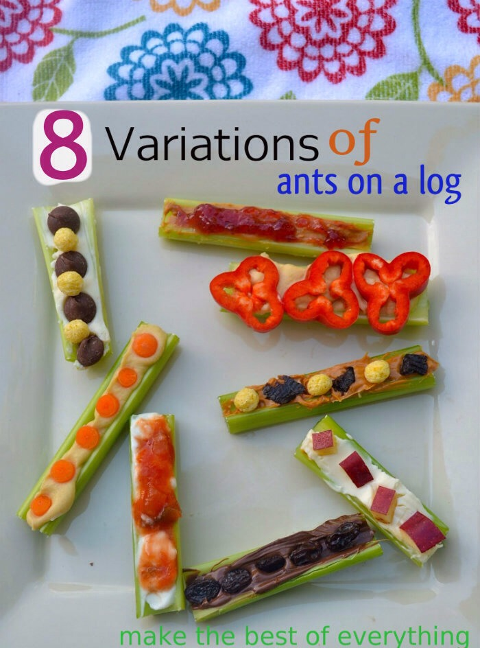 """Not only are these a healthy low carb lunch or snack, but they can be a fun way to motivate kids to eat healthy!  What a fun way to switch up snack time! You could even put together an Ants on a log"""" bar where your kids or friends can put together their own healthy snack!  Here are the combos!"""