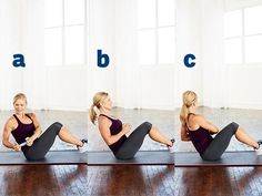 then, do a row flat. start with your knees tucked into your body but you feet off the ground, so you are balancing on your butt. then, slowly straiten your lags and arms in front of you. while leaning back with your core. then crunch back up again. do this 20 times