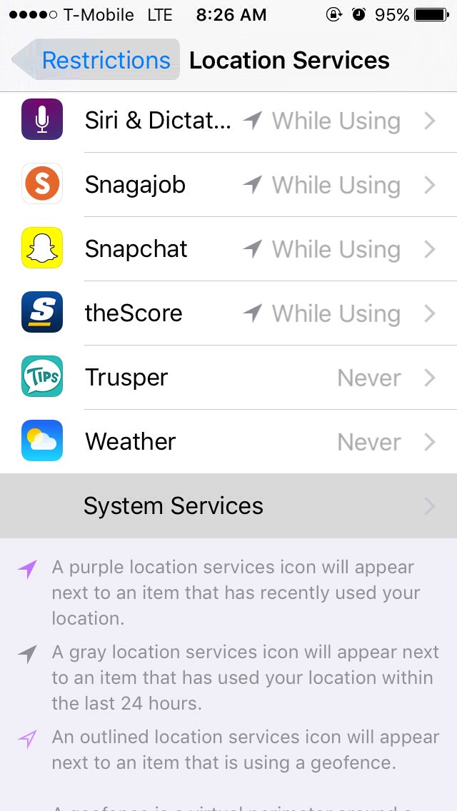 Scroll down to system service