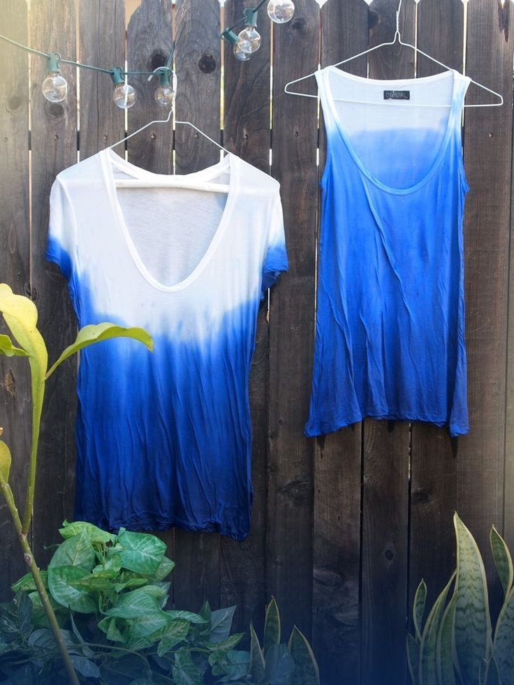 9. Ombré Shirt Fill a bucket up with a dye color of your choice, then dip the shirt (make sure you previously soaked the shirt in water so that it's wet) into the dye part way, set it out and the dye will travel up the shirt a bit for a faded ombré look