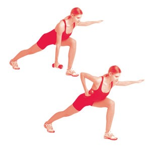 Crescent lunge and row