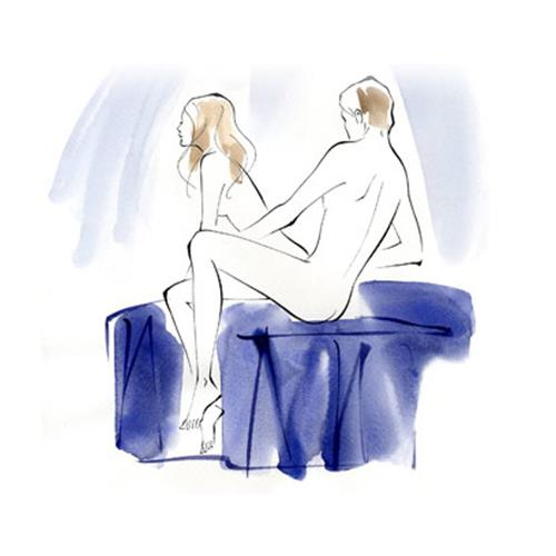 The Chairman How He sits on the edge of the bed and you sit on him, facing away.  Benefit This move will hit the spot…as in your G-spot. Good for G-spot stimulation while you can use your hands to stimulate his scrotum or perineum.